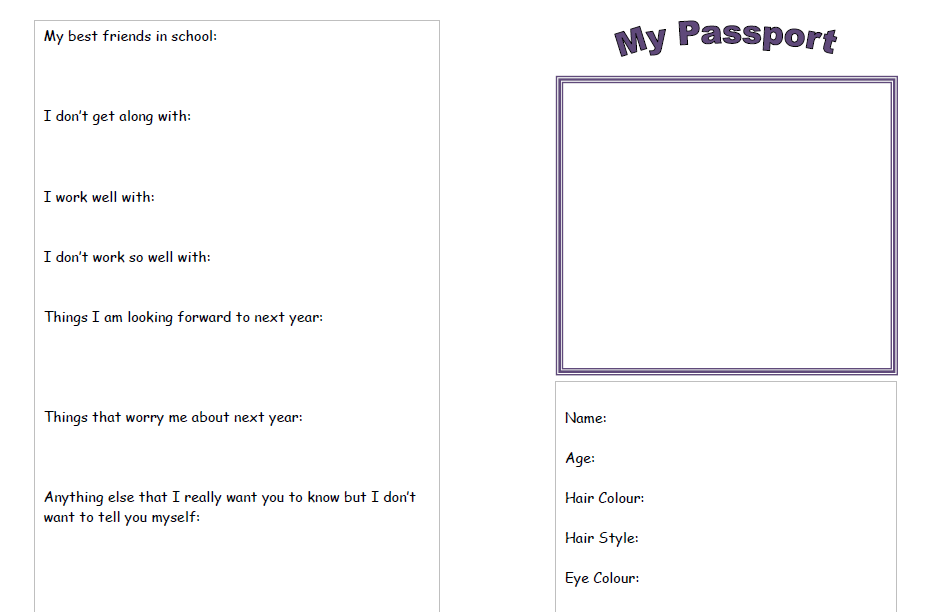 Depicts passport (for a new class/school)