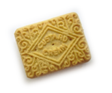 Depicts a biscuit